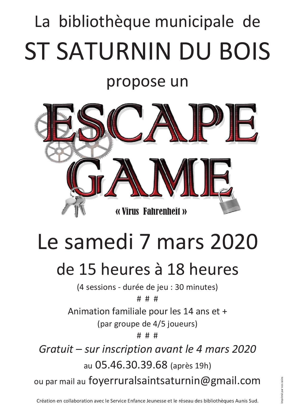 Escape game st saturnin 7 mars 2020